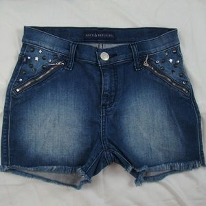 Rock & Republic Jean Shorts Spiked Studs Pixie